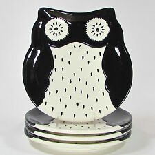 """Global Design Connections OWL 8"""" Salad Plate Set 4Pc Kate Williams Black White"""