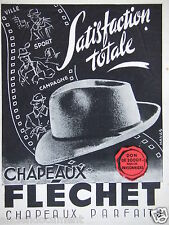 PUBLICITÉ 1943 CHAPEAUX FLÉCHET SATISFACTION TOTALE - ADVERTISING