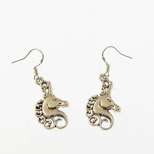 Unicorn Testa orecchini pendenti Pendaglio Argento Sterling Ganci 2.5cm Tibetano in Argento