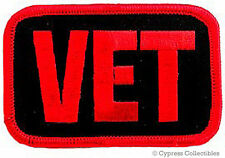 MILITARY VETERAN PATCH VET ARMY NAVY USAF USMC embroidered iron-on RED EMBLEM