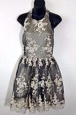Alice + Olivia $596 Black Floral Lace Open Back Flare Halter Cocktail Dress Sz 6