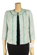 Kasper Size 16P Spearmint Green White Fringe Edge Open Front Blazer Jacket NEW