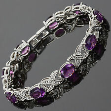 Christmas Gift Xmas Purple Amethyst White Gold Gp Tennis Bracelet Jewelry