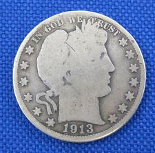 1913 SILVER U.S. BARBER HALF DOLLAR COIN