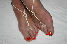 SALE CREAM TURQUOISE & CLEAR CRYSTALS Bridal Foot Thongs Barefoot Beach Sandals