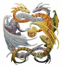 Intertwined Dragons Patch Mystical Gray & Green Myth Serpents Iron-On Applique