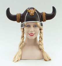 VIKING HELMET WITH BLONDE PLAITS BULL WARRIOR PARTY ACCESSORY ADULT SIZE