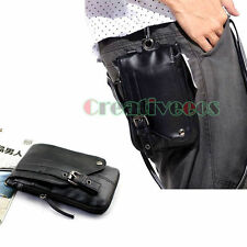 Men PU Leather Hook Shoulder Messenger Belt Fanny Pack Pouch Waist Leg Drop Bag