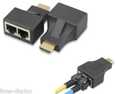 HDMI To Dual Port RJ45 Network Cable Extender Adapter Over by Cat 5e / 6 1080p