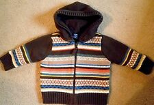 Baby Gap 6 12 Mo.Himalaya Sweater Stripe Brown Orange Lined Cardigan Pre-owned