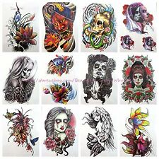 "10 sheets large 8.25"" temporary arm tattoo wholesale flower sugar skull tattoo"