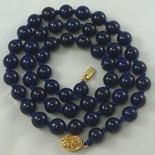 Vintage Chinese Export Deep Blue Peking Glass Hand Knotted Bead Necklace 25""