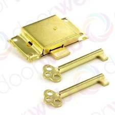 Brass CUPBOARD DOOR LOCK Cabinet Wardrobe Drawer Electro Brass With Keys 63mm