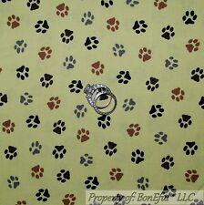 BonEful Fabric FQ Cotton Quilt Green Black Brown Gray Animal Cat Dog PAW Print