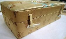 Gold Jewelry Box Organizer Storage Case Beautiful Floral Design Blue Brown Gold