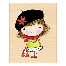 PENNY BLACK RUBBER STAMPS BONJOUR FRENCH GIRL NEW STAMP