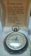 Mens Historical Sterling/Gold Pocket watch. Mid 1800's Mormon Baptism Gift.
