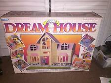 VINTAGE 1980'S BLUE BOX LIGHT UP DREAM HOUSE IN BOX   NEAR COMPLETE  WORKS
