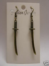 Small Antique Bronze Plated Japanese Samurai Sword Earrings