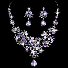 New Wedding Party Prom Rhinestone Crystal Pendant Necklace Earrings Jewelry Sets
