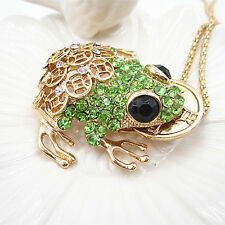 Fashion Full Gold Coins Green Crystal Frog Pendant Necklace Sweater Chain Gift