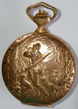Arnex Hebdomas 8 Day 15 Jewel Pocket Watch Hunter w/Gun Horn & Dog, Fox