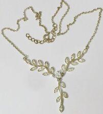 collier bijou style vintage solitaire cristal diamant feuillage couleur or *5230