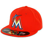 Miami MARLINS ROAD Away Orange New Era 59FIFTY Fitted Caps MLB On Field Hats