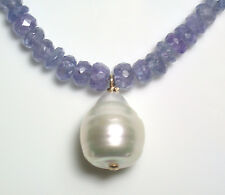 Silver white South Sea pearl & 50ct tanzanite necklace with Karen vermeil clasp