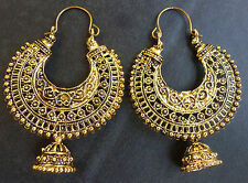 Indian Antique Gold Plated Chand Bali Ring Jhumka jhumki earrings  Vintage Set
