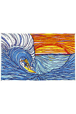 SUNSET SURFER-CATCH THE WAVE TAPESTRY 60X90 Wallhanging,Kool,Ocean,Surfboard NEW