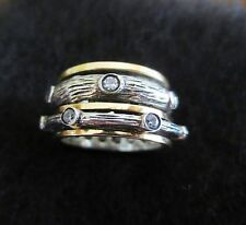 Spinner 3 Wide 14K Gold Sterling Silver Paz  Vintage Stone Ring Sz 7