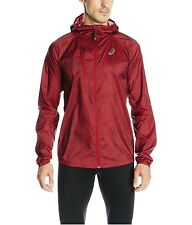 $110 Asics Men's FujiTrail Packable Running Jacket In Deep Ruby Map Color Sz XL