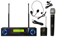 Pyle PDWM3500 Pro UHF Dual Channel Wireless Mic System w/Headset/Lavalier