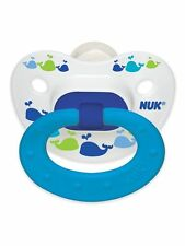 NUK Fashion Orthodontic 18-36 Months 2 Pack Silicone Pacifier Blue Whales Boys