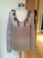 Faber Jumper Size 12 Bnwt Beige With Animal Print Trim Rrp £155 Now £45
