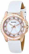 Bulova Women's 98P119 Diamond-Accented Rose Gold Case White Leather Band Watch