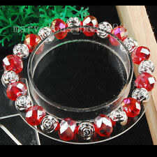 """Red Crystal Faceted Beads Stretch Bracelet Jewelry 7 1/2"""" G5976"""