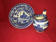 Historical Staffordshire Boston State House Bowl Pitcher Set By Rogers Ca. 1825