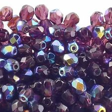 4mm Czech Glass Faceted Round Fire Polished Beads 80+ Colours x 50 Beads