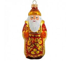 Khokhloma Santa Claus Christmas Ornament Hand Blown Hand Painted in Russia SALE