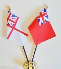 Royal Navy White Ensign & Colonial Red Ensign Double Friendship Table Flag Set