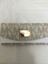 Michael Kors Wallet 35T3GJSE7 MK Signature North South Jet Set Flap PVC Vanilla