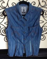 vintage gaultier 80s denim flap hemline top medium