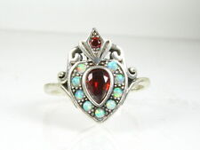 .25ct Natural Garnet and Opal Victorian Deco Sterling Silver Filigree Ring 111b