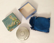 Boxed NORIDA Nickel Silver powder grater compact with protective pouch 1924 USA