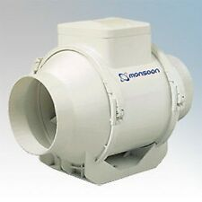 "MONSOON UMD100T Mixed  Flow IN LINE POWERFUL timer EXTRACTOR FAN 4"" 100mm"