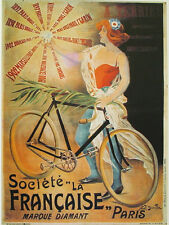 AFFICHE POSTER CARTONNE PARIS FRANCE SPORT VELO CYCLISME COURSE VINTAGE BYCICLE