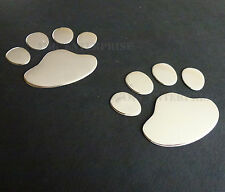 Chrome Effect Paw Animal Cat Bear Dog Print Badge Decals Stickers for Cars SUV