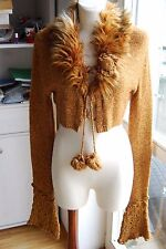 ALEX(E) made France misfit ultra long eyelet sleeves fur cropped tie cardigan ML
